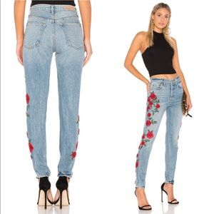 🌹GRLFRND Rose Embroidered Jeans